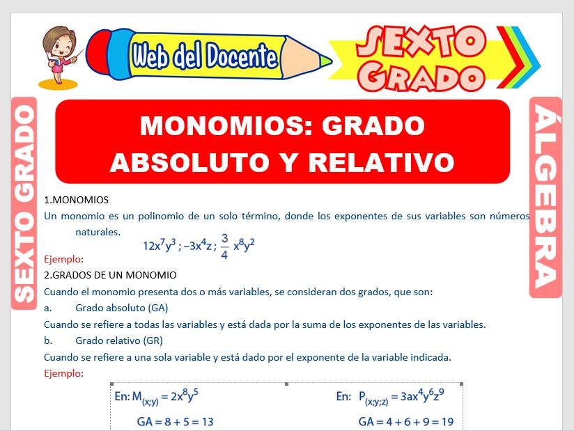 Ficha de Grado Absoluto y Relativo de los Monomios para Sexto Grado de Primaria