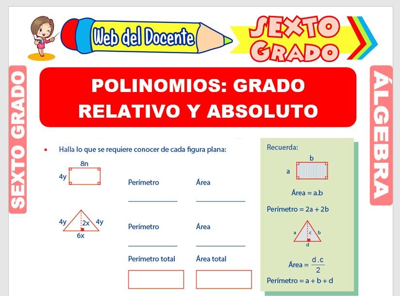 Ficha de Grado Absoluto y Relativo de los Polinomios para Sexto Grado de Primaria