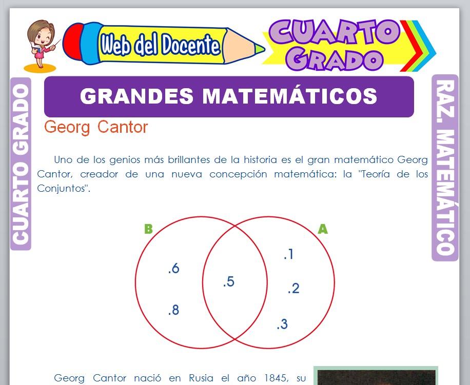 Ficha de Grandes Matemáticos para Cuarto Grado de Primaria