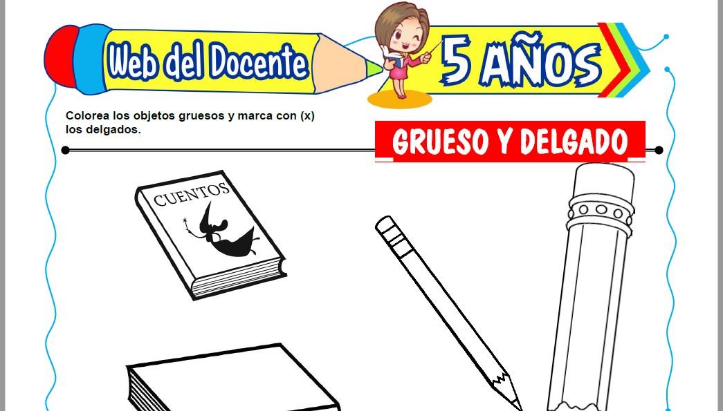 Muestra de la Ficha de Grueso y Delgado para Niños de 5 Años