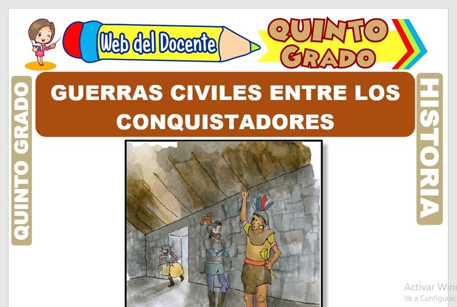 Ficha de Guerras Civiles entre los Conquistadores para Quinto Grado de Primaria