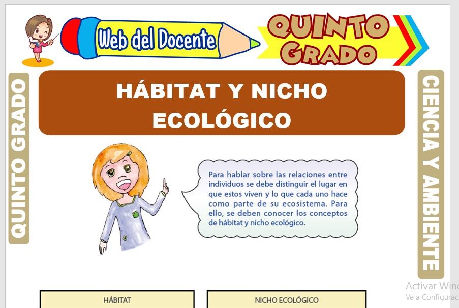 Ficha de Hábitat y Nicho Ecológico para Quinto Grado de Primaria
