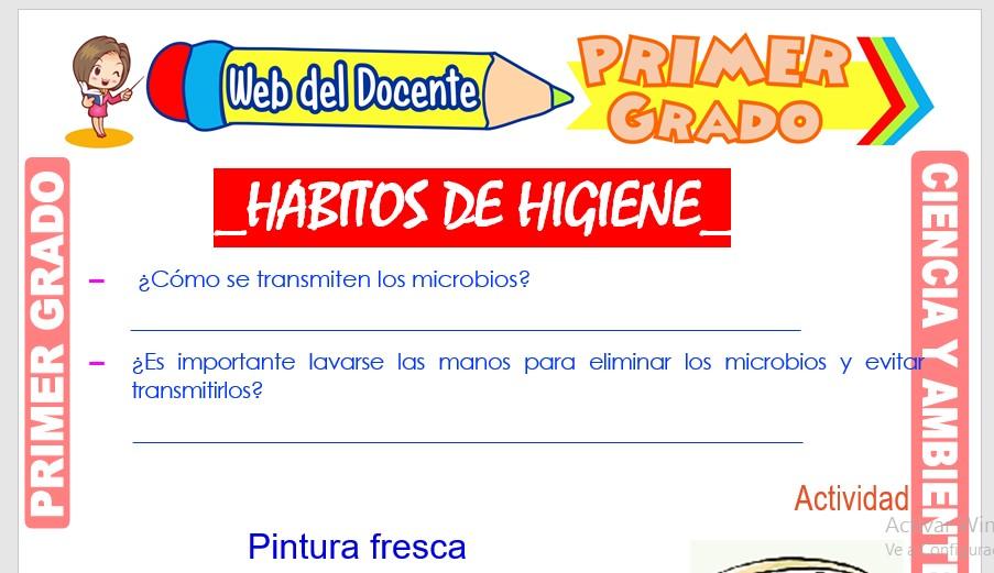 Ficha de Hábitos de Higiene para Primer Grado de Primaria