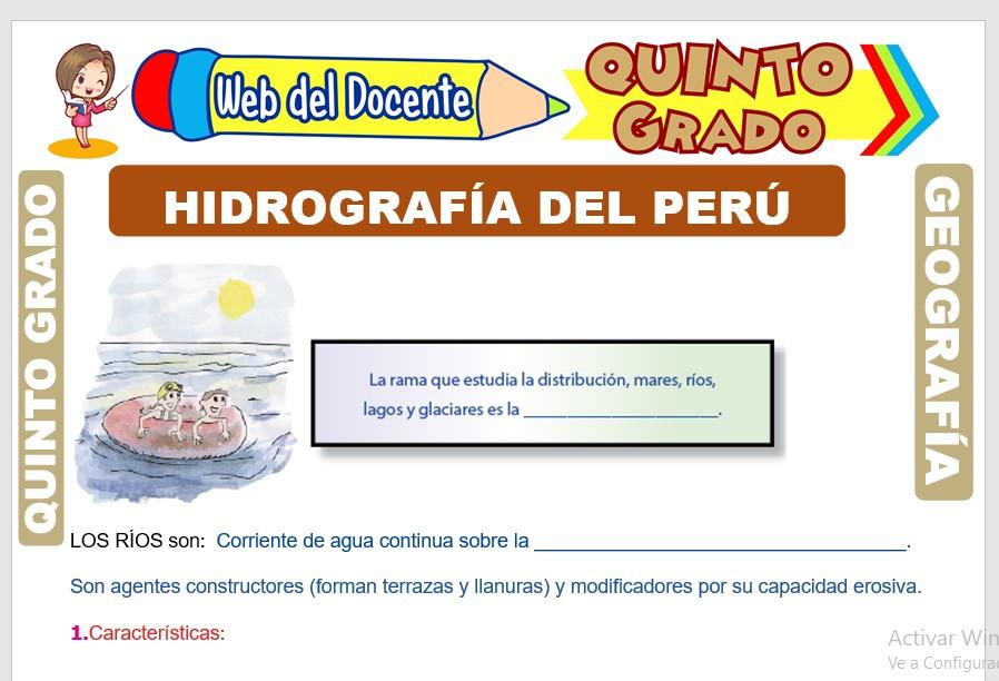 Ficha de Hidrografía del Perú para Quinto Grado de Primaria