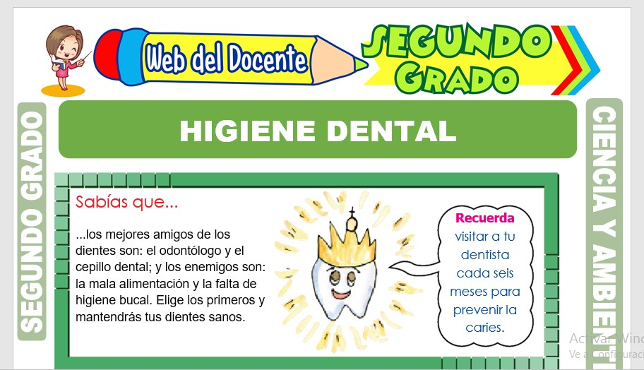 Ficha de Higiene Dental para Segundo Grado de Primaria