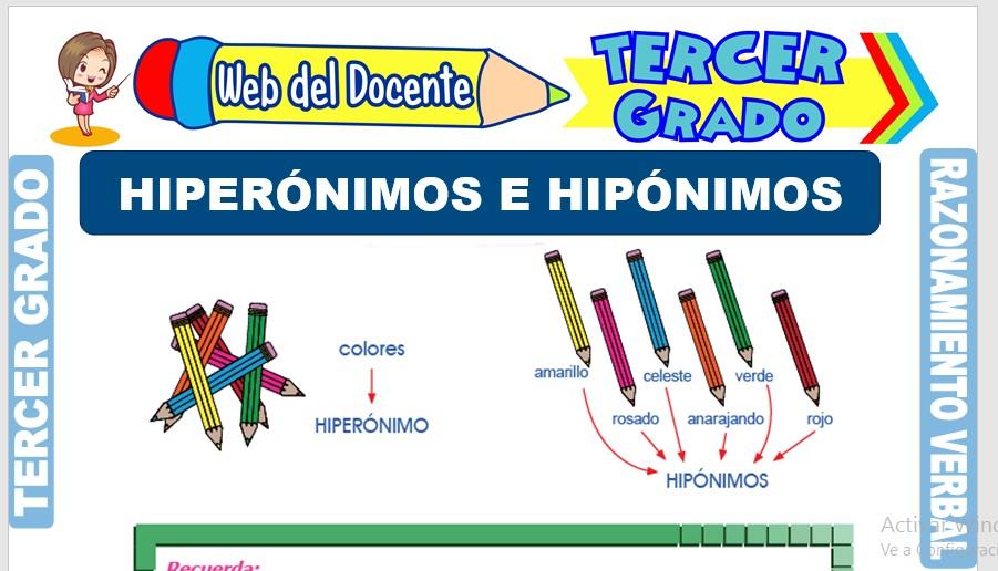 Ficha de Hiperónimos e Hipónimos para Tercer Grado de Primaria