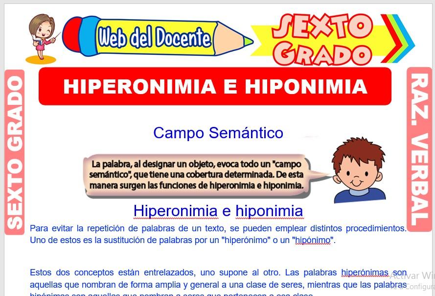 Ficha de Hiperonimia e Hiponimia para Sexto Grado de Primaria