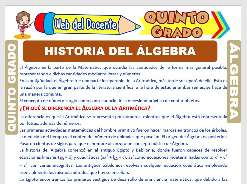 Ficha de Historia del Álgebra para Quinto Grado de Primaria