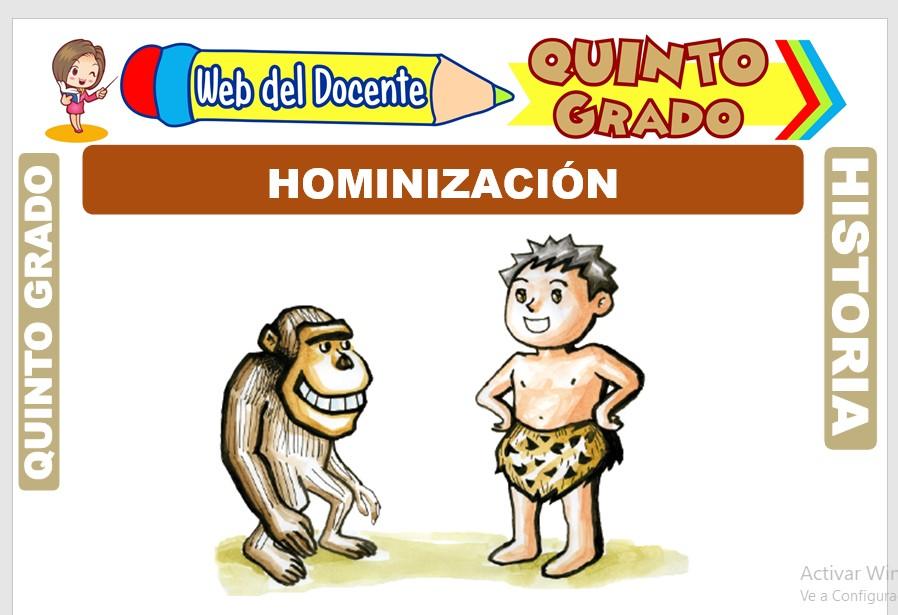 Ficha de Hominización para Quinto Grado de Primaria