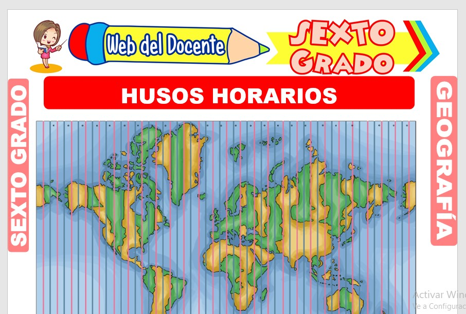 Ficha de Husos Horarios para Sexto Grado de Primaria