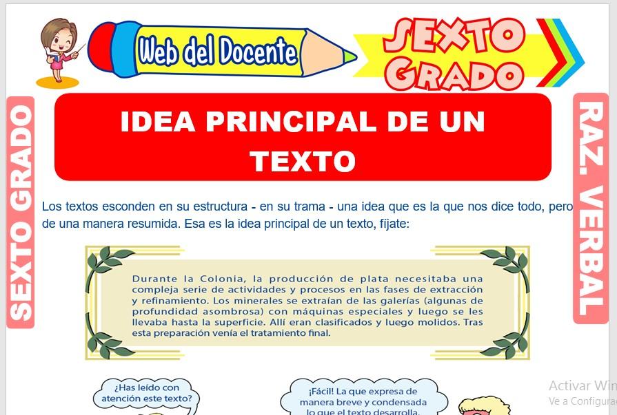 Ficha de Idea Principal de un Texto para Sexto Grado de Primaria