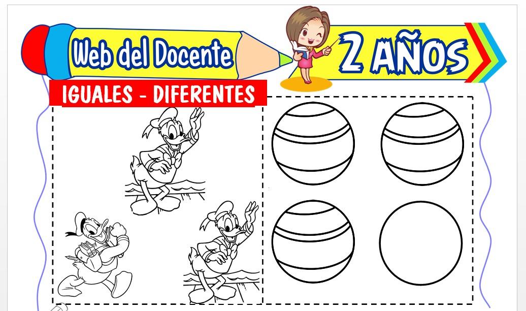 Ficha de Iguales y Diferentes para Niños de 2 Años