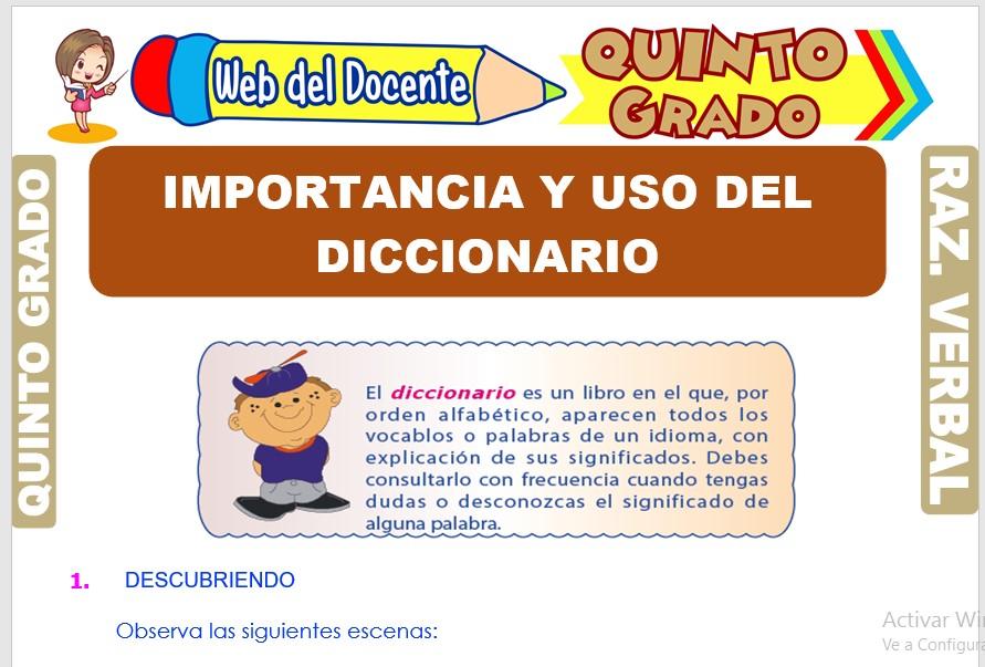 Ficha de Importancia y Uso del Diccionario para Quinto Grado de Primaria