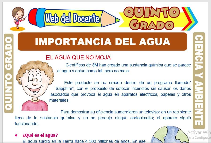 Ficha de Importancia del Agua para Quinto Grado de Primaria