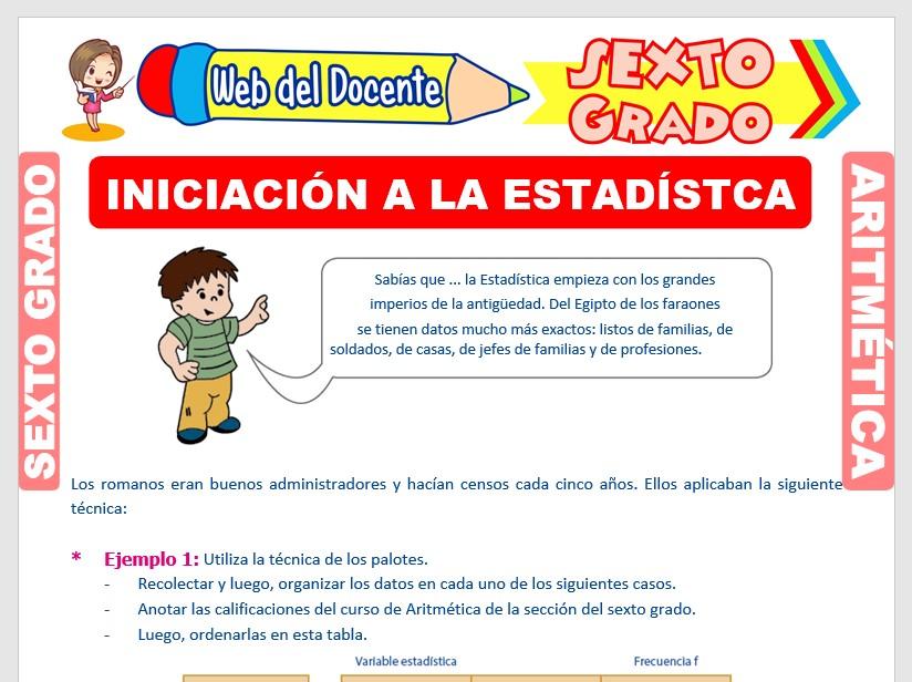 Ficha de Iniciación a la Estadística para Sexto Grado de Primaria