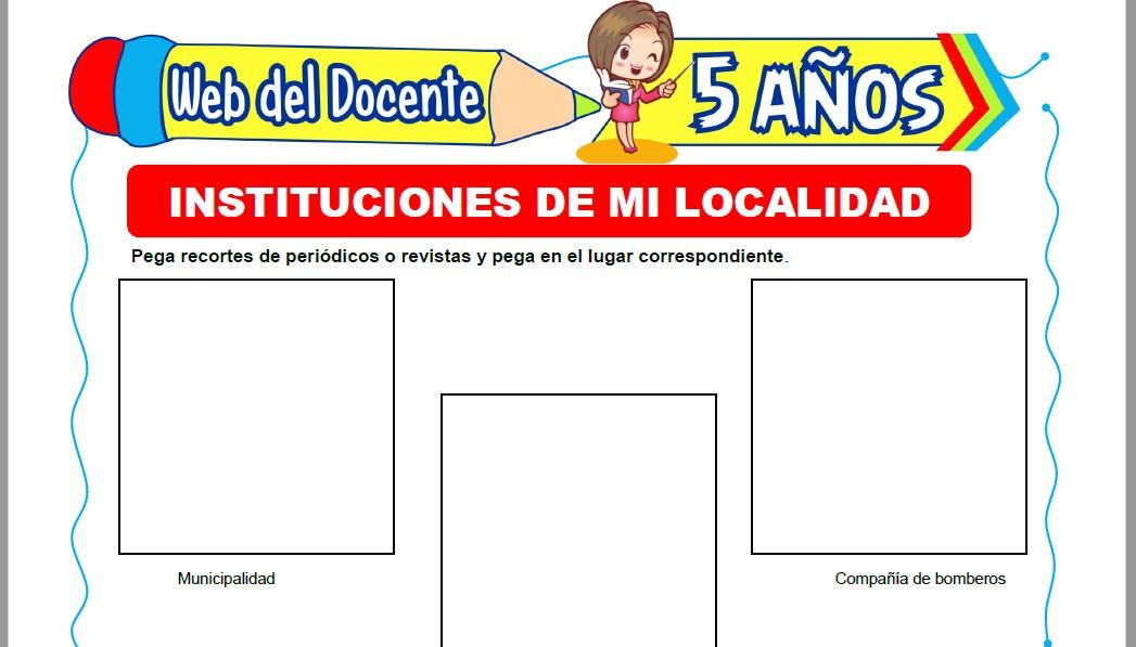 Muestra de la Ficha de Instituciones de mi Localidad para Niños de 5 Años