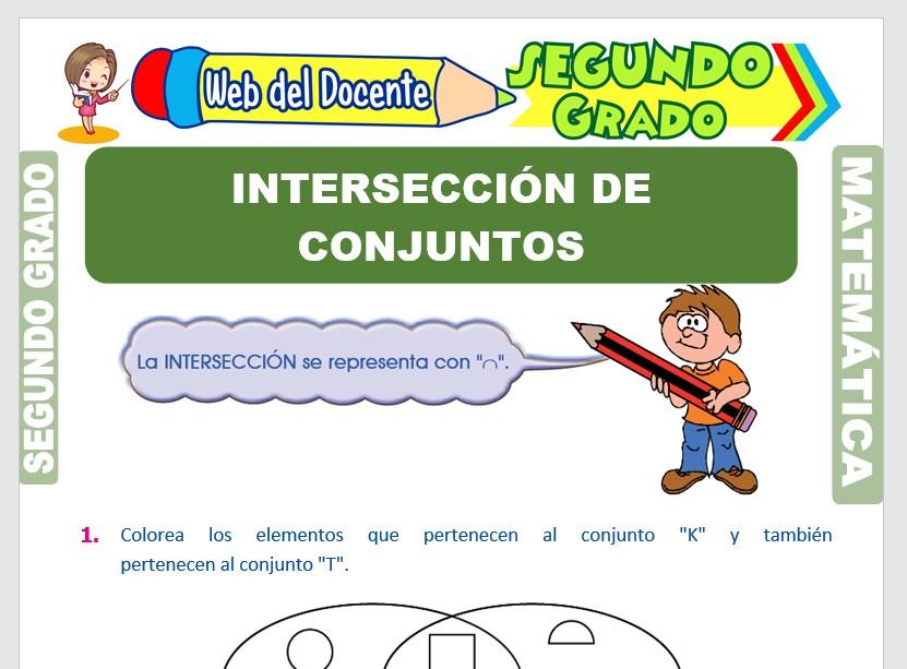 Ficha de Intersección de Conjuntos para Segundo Grado de Primaria