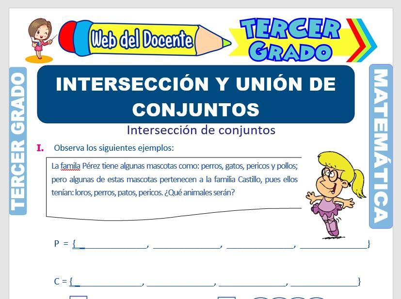 Ficha de Intersección y Unión de Conjuntos para Tercer Grado de Primaria
