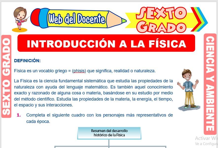 Ficha de Introducción a la Física para Sexto Grado de Primaria