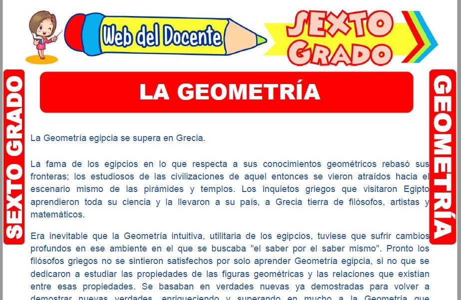 Muestra de la Ficha de Introducción a la Geometría para Sexto Grado de Primaria