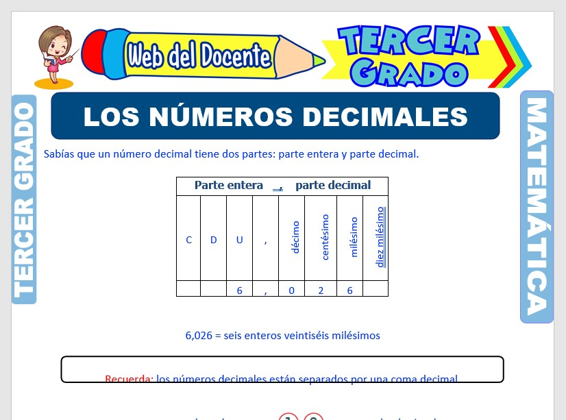 Ficha de Introducción a los Números Decimales para Tercer Grado de Primaria