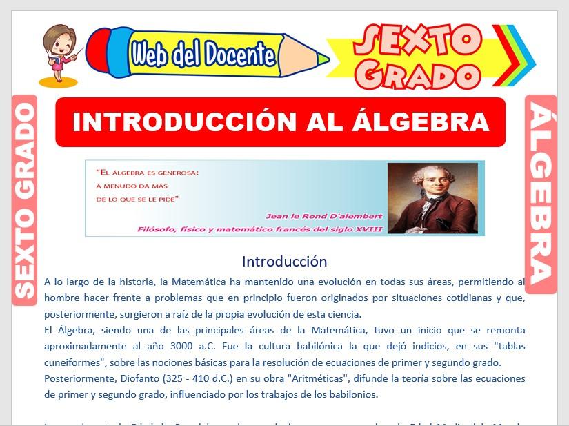 Ficha de Introducción al Álgebra para Sexto Grado de Primaria