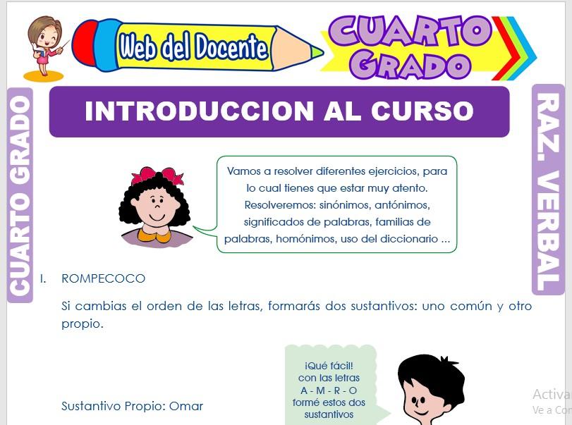 Ficha de Introducción al Curso para Cuarto Grado de Primaria