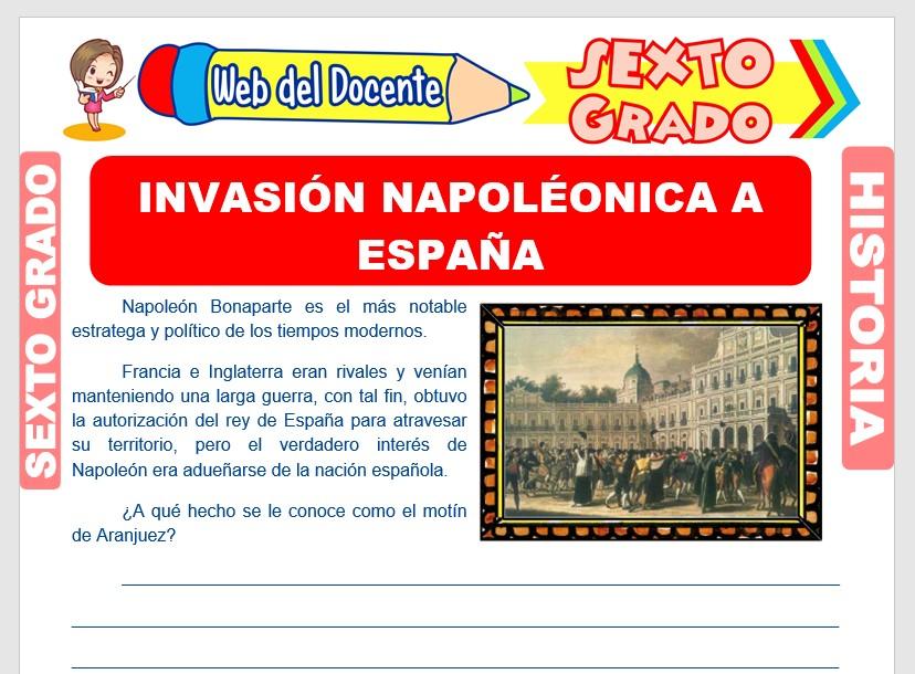 Ficha de Invasión Napoléonica a España para Sexto Grado de Primaria