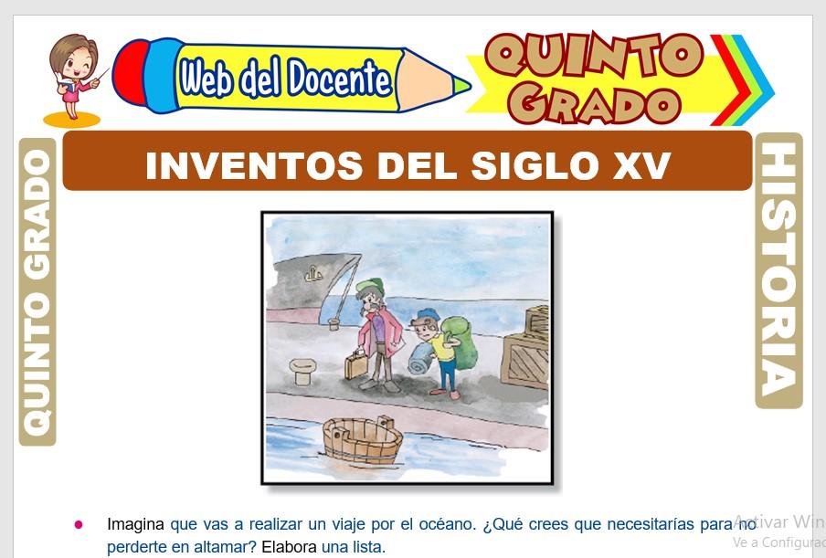 Ficha de Inventos del siglo XV para Quinto Grado de Primaria