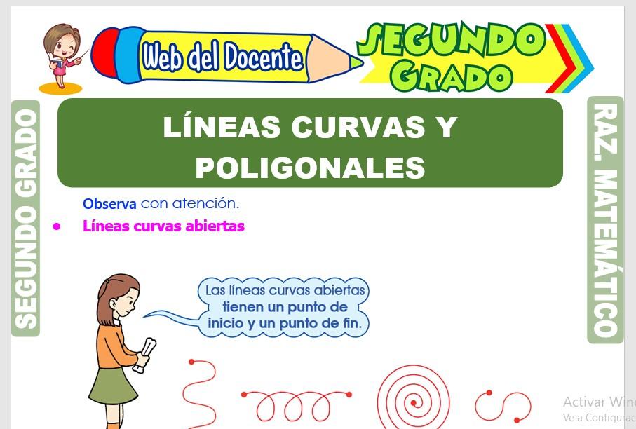 Ficha de Líneas Curvas y Poligonales para Segundo Grado de Primaria