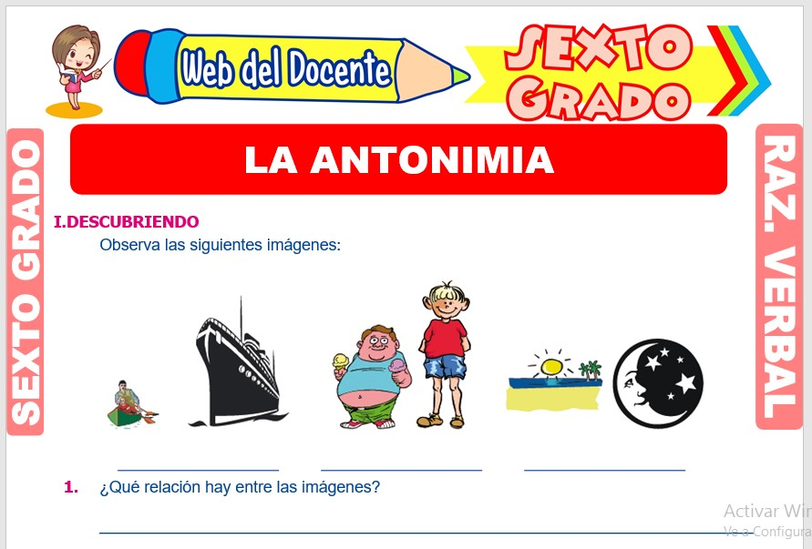 Ficha de La Antonimia para Sexto Grado de Primaria