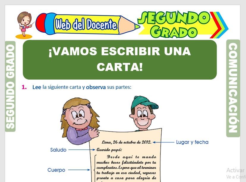 Ficha de La Carta y sus Partes para Segundo Grado de Primaria