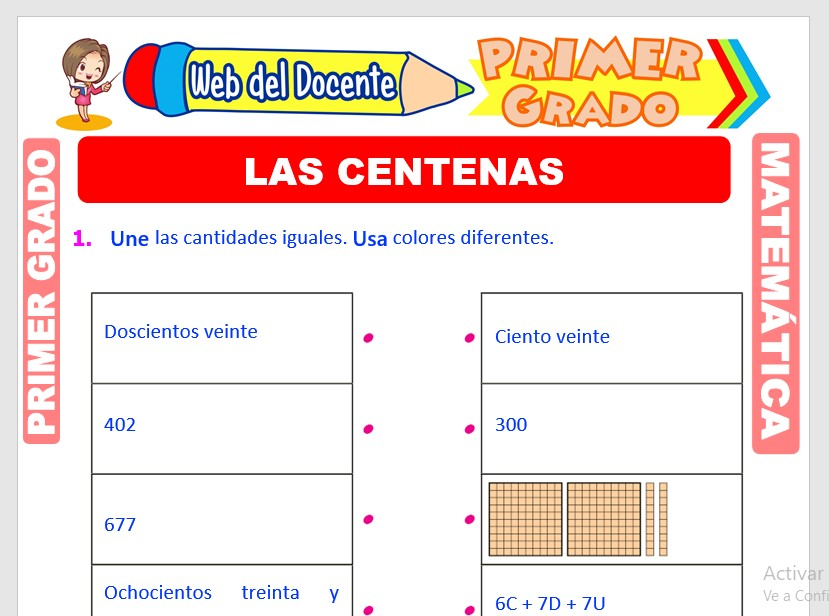 Ficha de La Centena para Primer Grado de Primaria