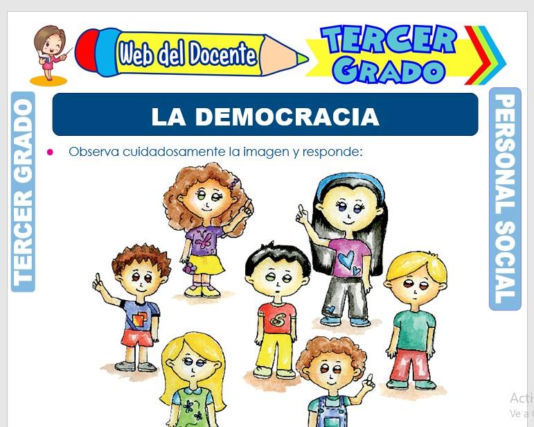 Ficha de La Democracia para Tercer Grado de Primaria