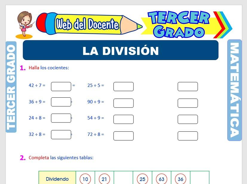 Ficha de La División para Tercer Grado de Primaria