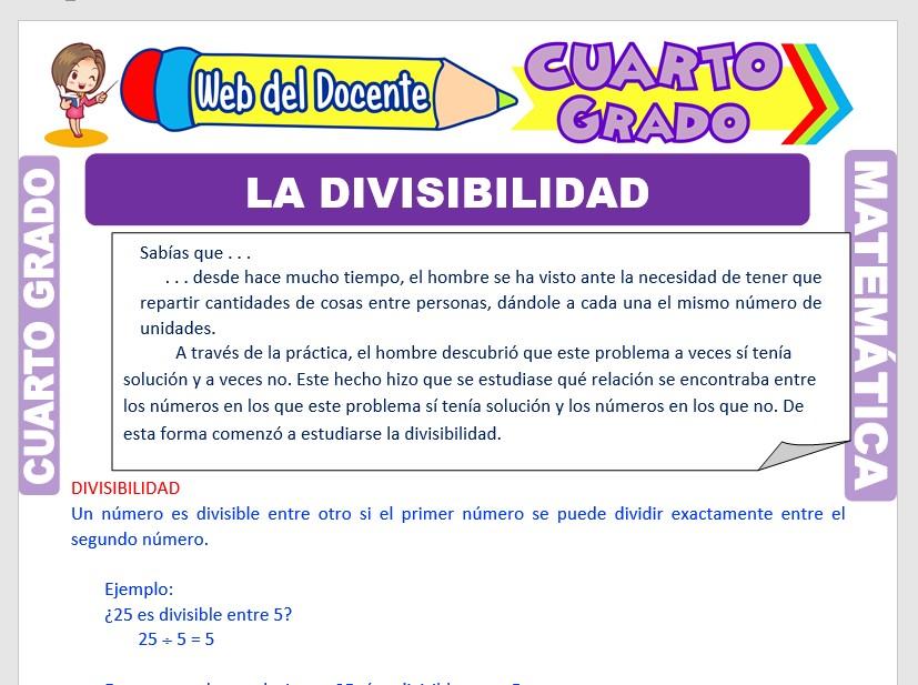 Ficha de La Divisibilidad para Cuarto Grado de Primaria