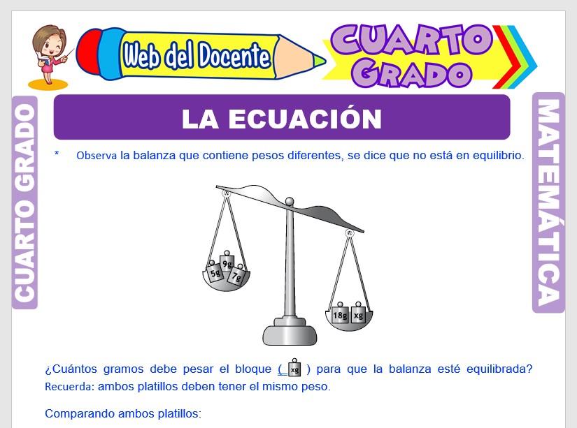 Ficha de La Ecuación para Cuarto Grado de Primaria