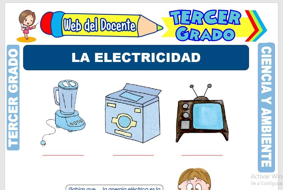 Ficha de La Electricidad para Tercer Grado de Primaria