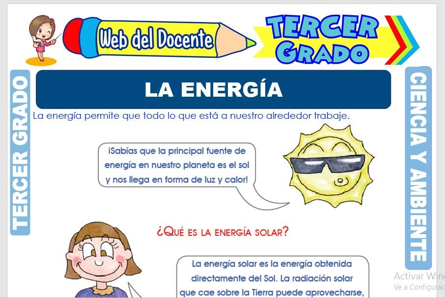 Ficha de La Energía para Tercer Grado de Primaria