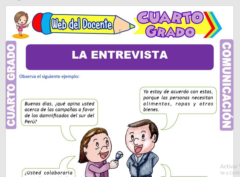Ficha de La Entrevista para Cuarto Grado de Primaria