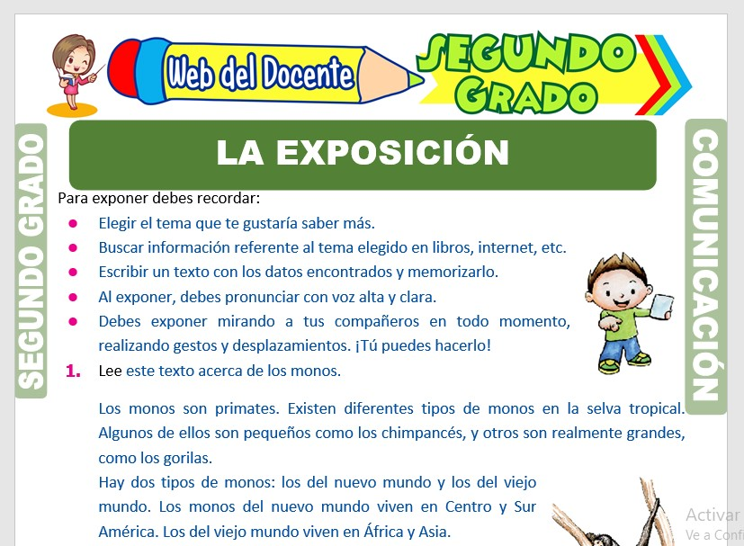 Ficha de La Exposición para Segundo Grado de Primaria