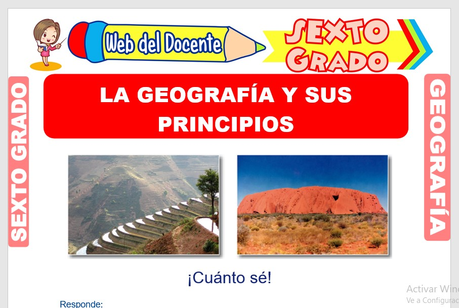 Ficha de La Geografía y sus Principios para Sexto Grado de Primaria