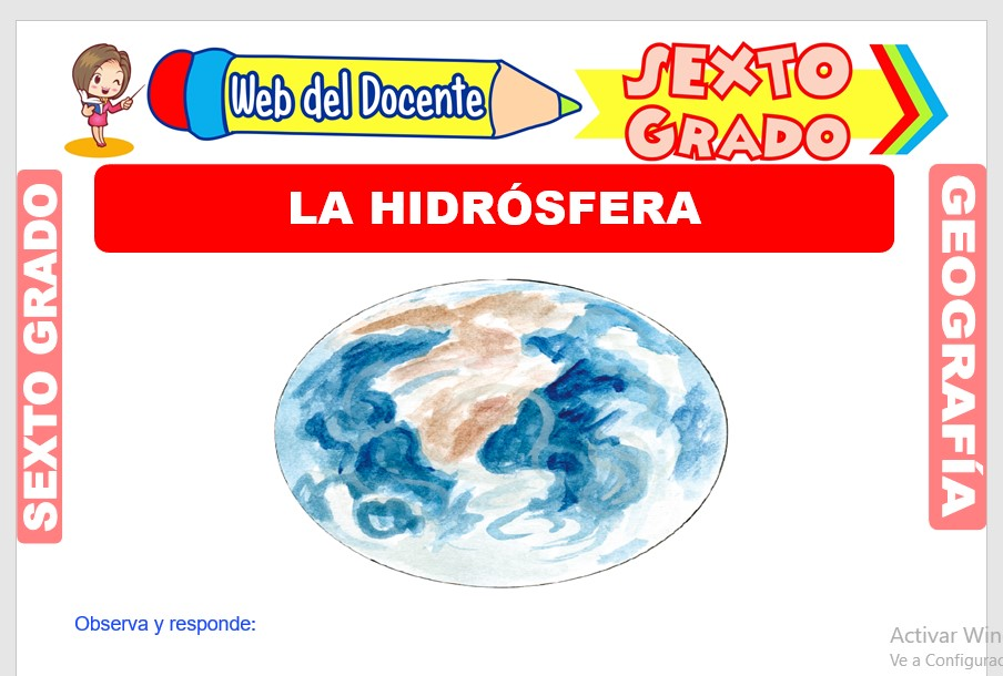 Ficha de La Hidrósfera para Sexto Grado de Primaria