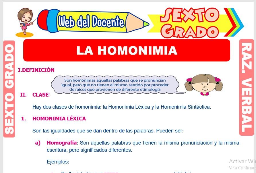 Ficha de La Homonimia para Sexto Grado de Primaria