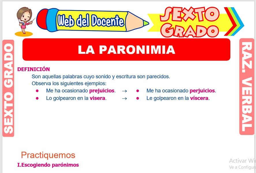 Ficha de La Paronimia para Sexto Grado de Primaria