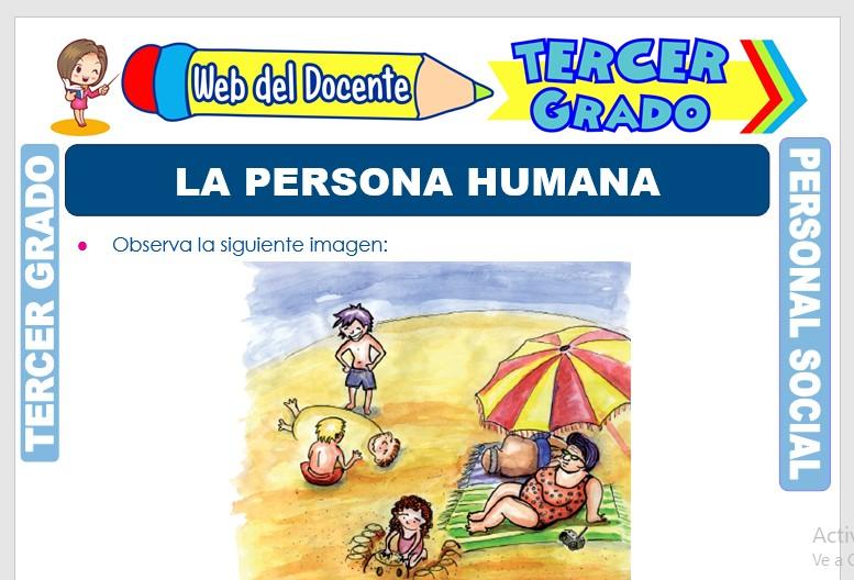Ficha de La Persona Humana para Tercer Grado de Primaria