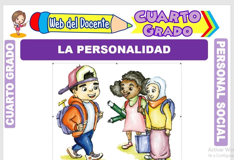 Ficha de La Personalidad para Cuarto Grado de Primaria