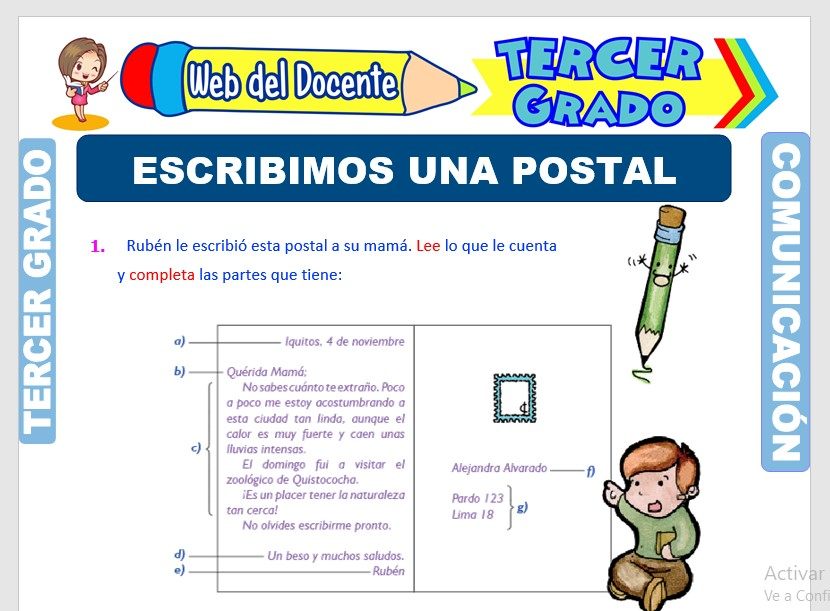 Ficha de La Postal para Tercer Grado de Primaria