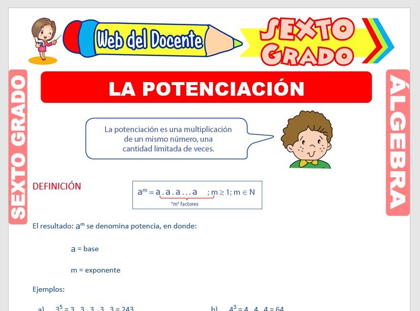 Ficha de La Potenciación y sus Propiedades para Sexto Grado de Primaria