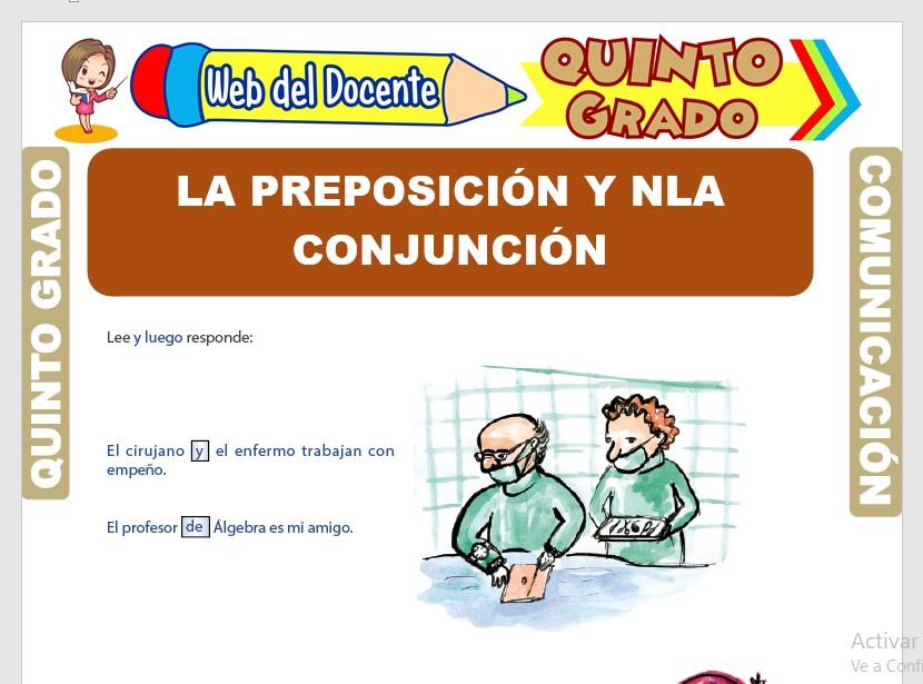 Ficha de La Preposición y la Conjunción para Quinto Grado de Primaria